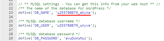 wp-database-name-location