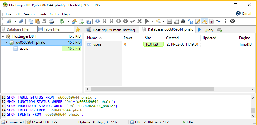 Successful connection to a database using HeidiSQL