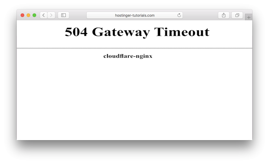 504 gateway timeout error in CloudFlare - version 1