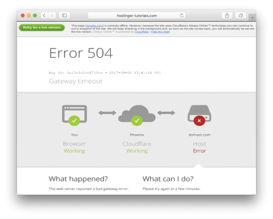 504 gateway timeout error in CloudFlare - version 2