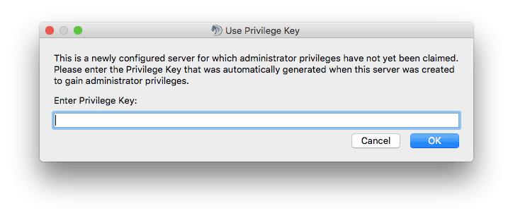 Entering privileged key in TeamSpeak3 client