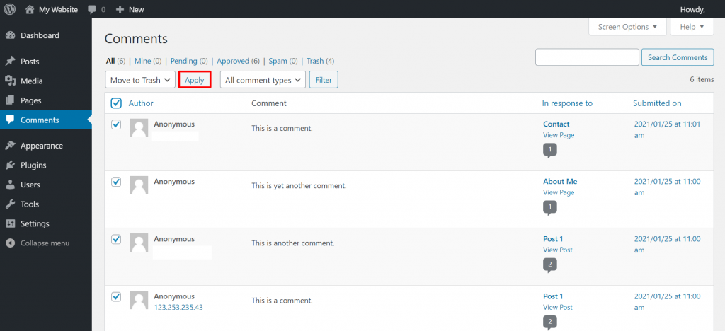 delete all of the existing comments under every wordpress post and page