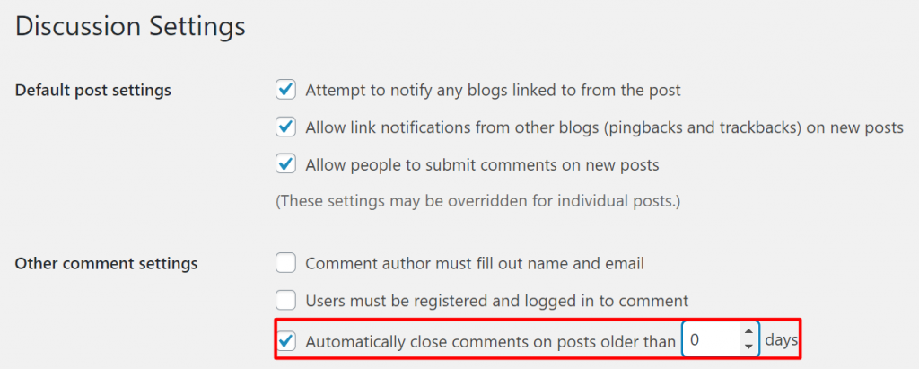 emove comment forms on every page - automatically disable comments