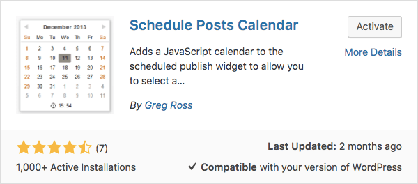 Schedule WordPress posts with schedule posts calendar plugin