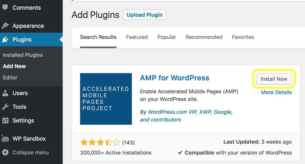 AMP for WordPress on the WordPress plugins page