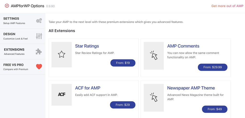 AMPforWP Extensions page Screenshot