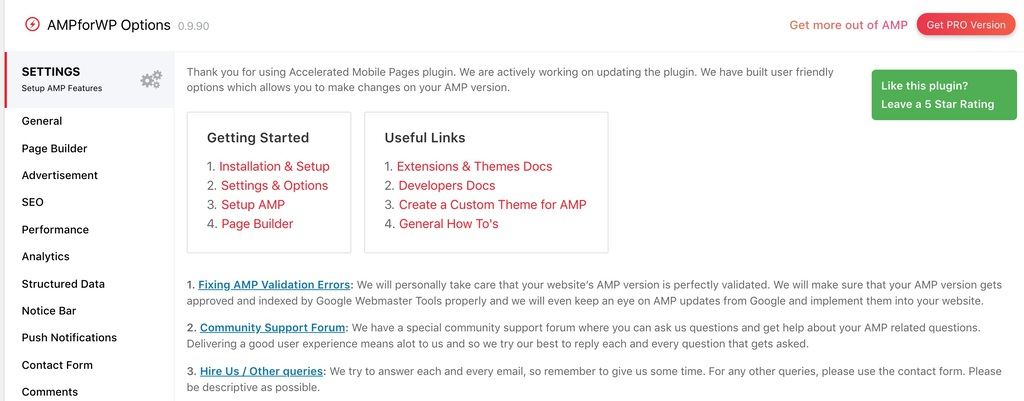 AMPforWP Plugin Settings page screenshot