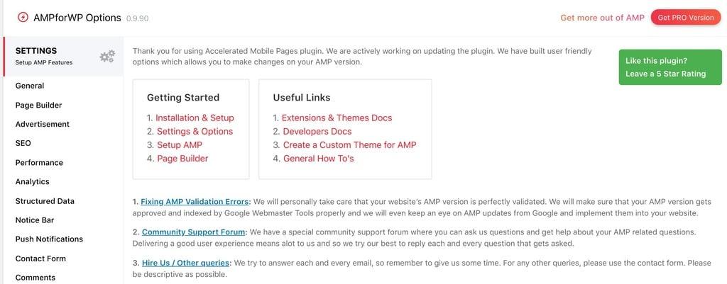 AMPforWP Plugin Settings page screenshot