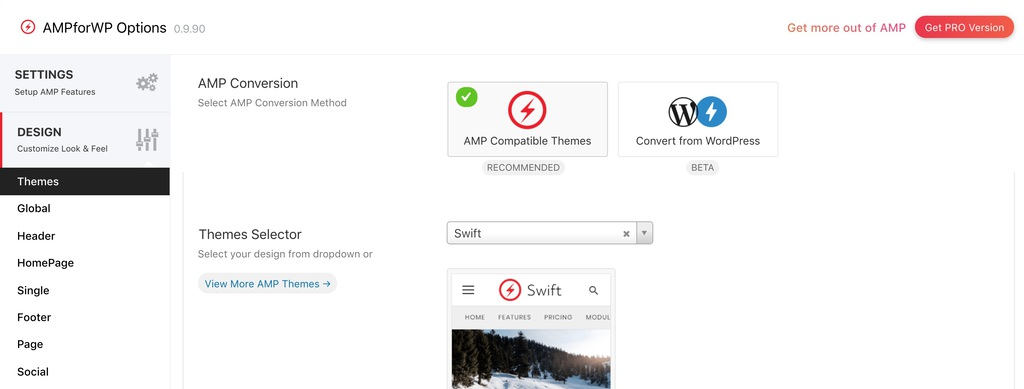 AMPforWP Themes option screenshot