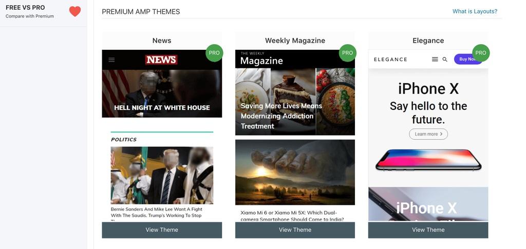 AMPforWP premium themes page screenshot