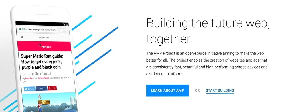Google AMP Homepage Screenshot