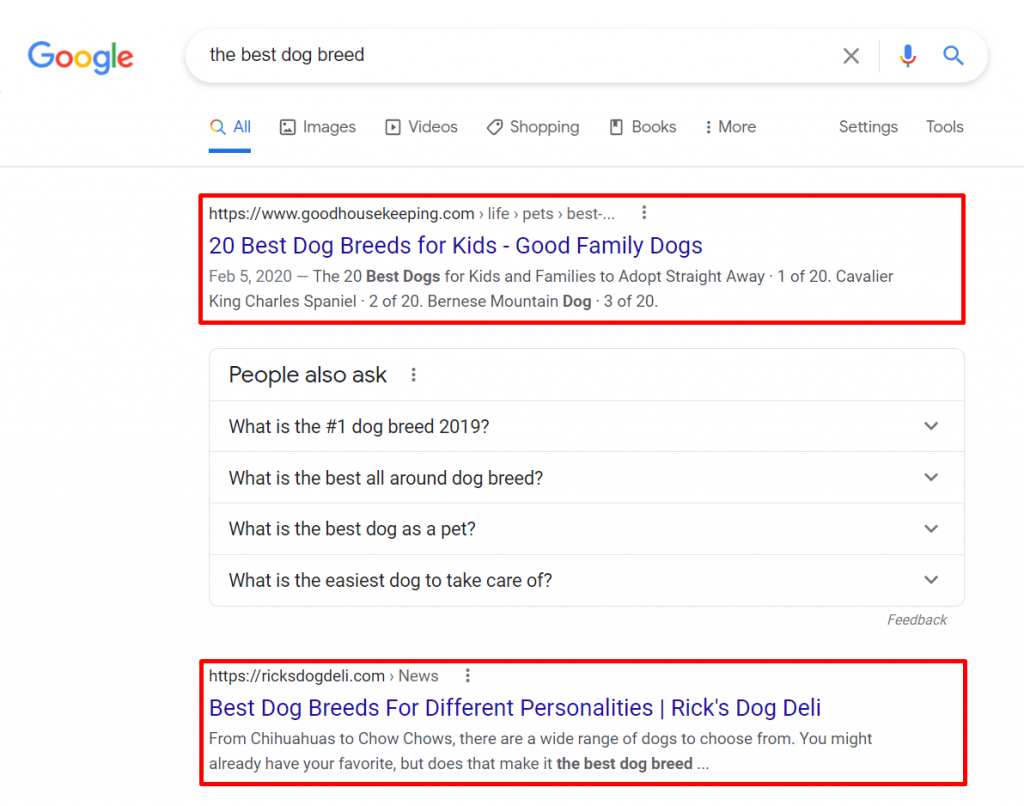 Screenshot of Google's result page