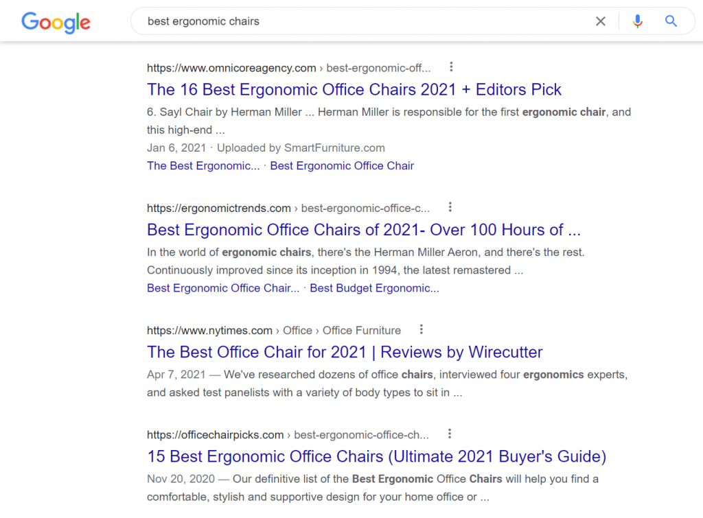 Example of Google's search results