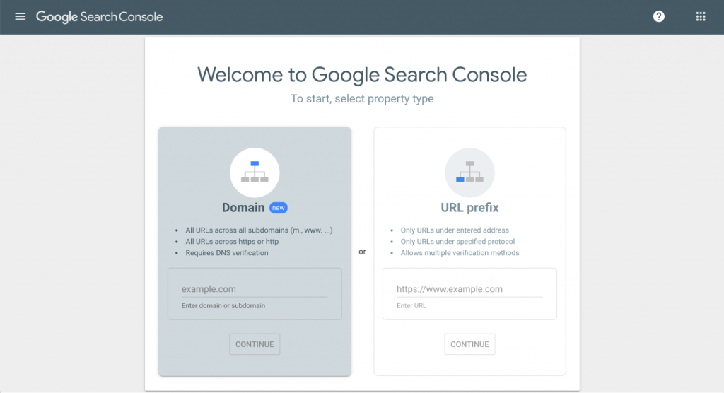 Selecting a property type on Google search console.