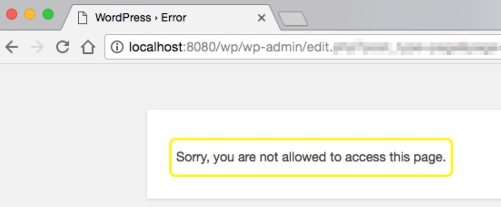 Sorry, you are not allowed to access this page error in WordPress