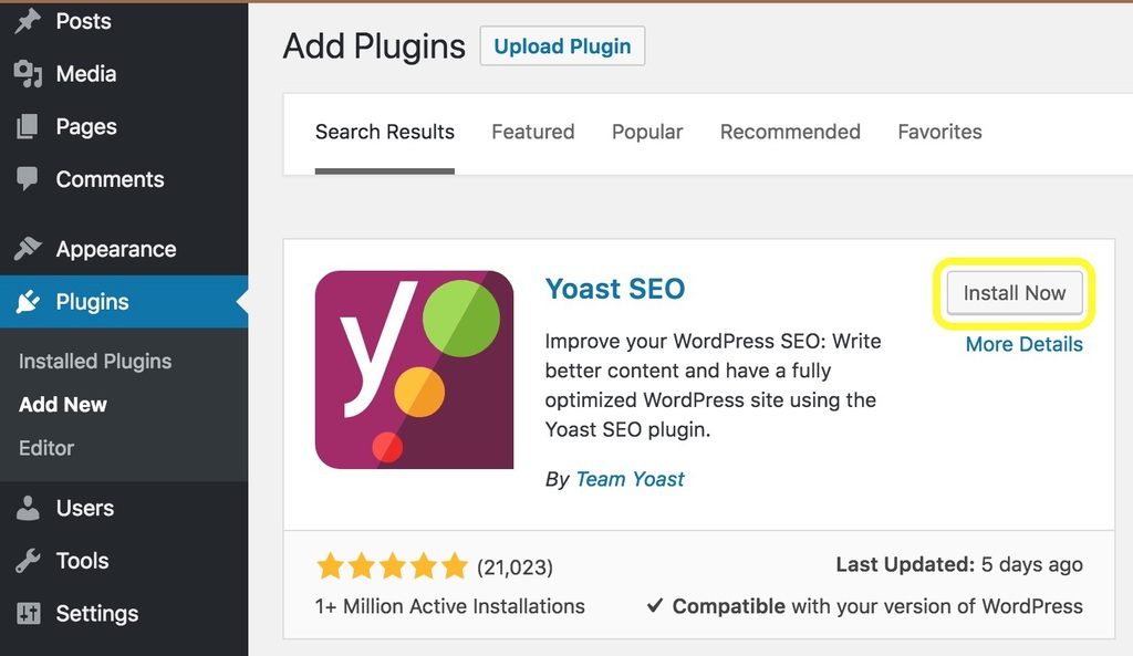 The Yoast SEO plugin displayed on the WordPress plugin page screenshot