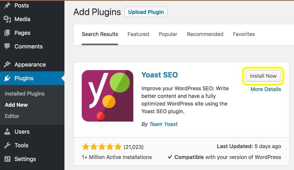 The Yoast SEO plugin displayed on the WordPress plugin page screenshot