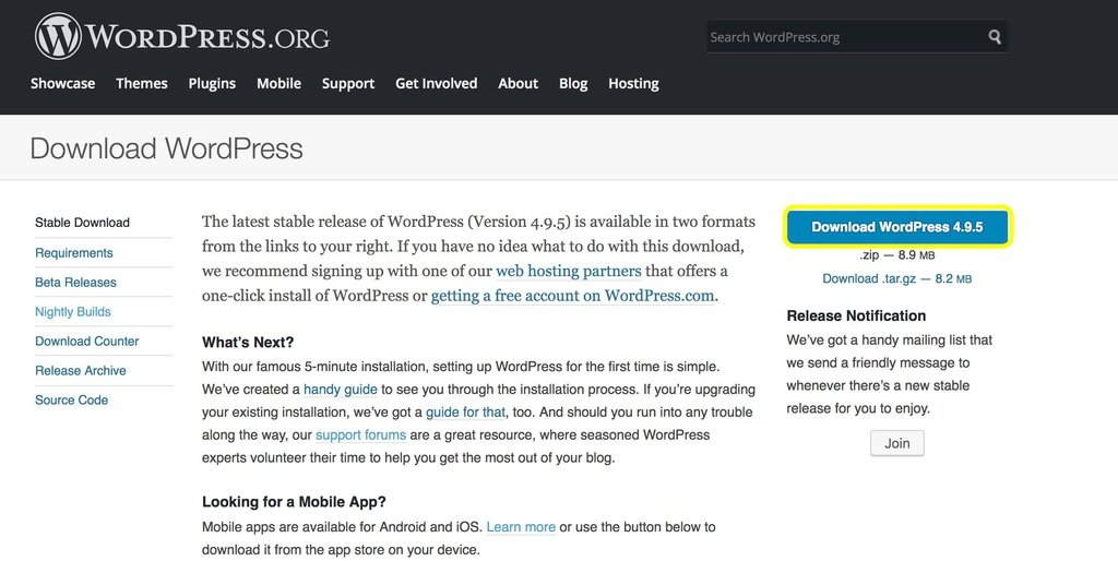 WordPress.org Download WordPress page