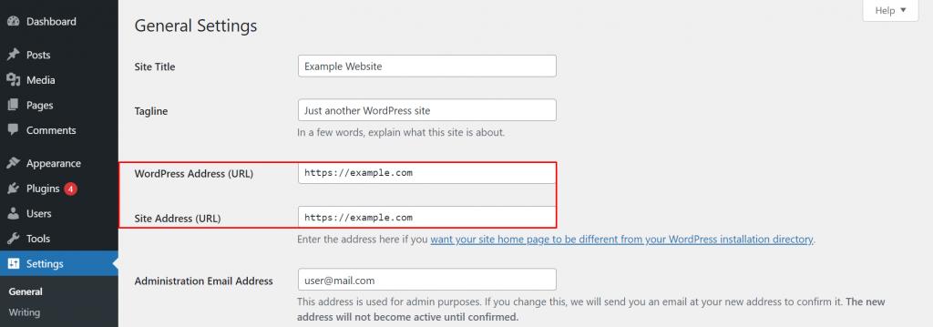 General setting menu on WordPress