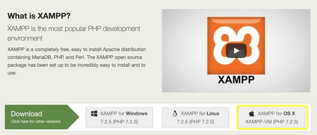XAMPP Mac Download button