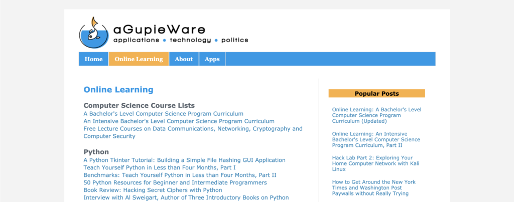 a Gupie Ware online learning computer science course list to learn coding