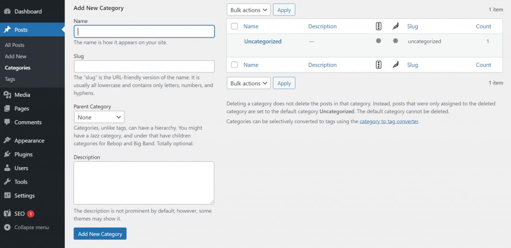 Adding new category on WordPress dashboard