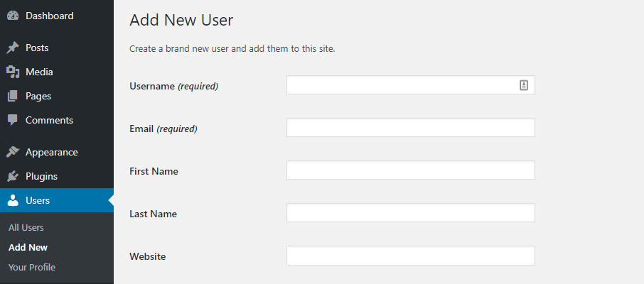 Adding a new user.