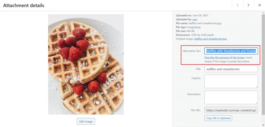 Adding Alt Text to image on WordPress