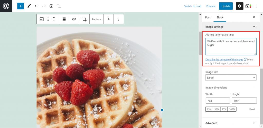 Adding Alt Text to image in Block Editor WordPress