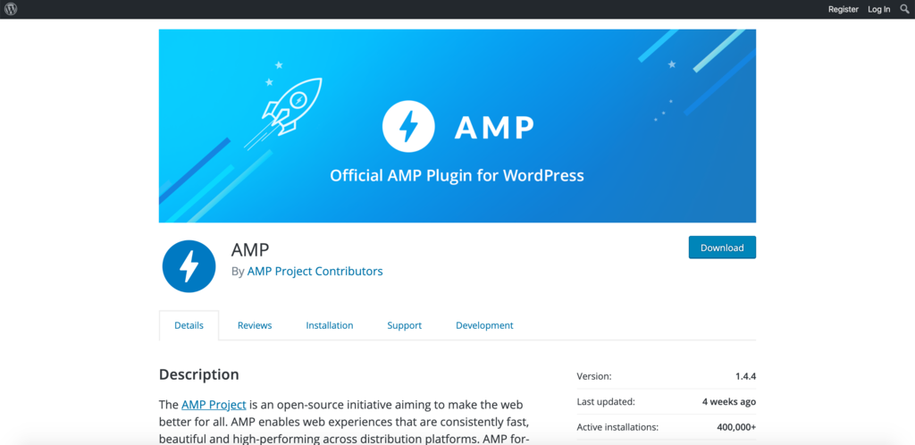AMP for WordPress official plugin download page