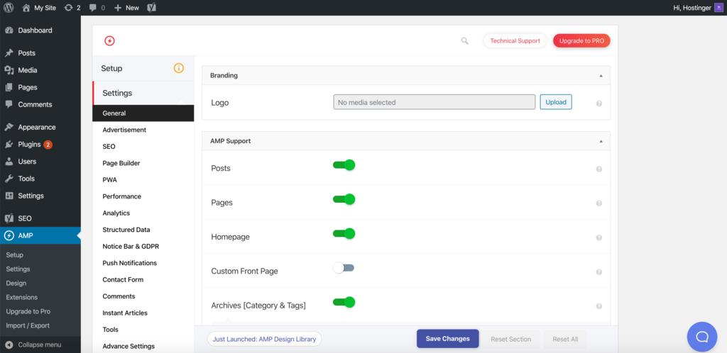 Managing AMP for WP settings
