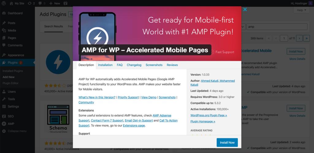 Installing AMP for WP WordPress plugin