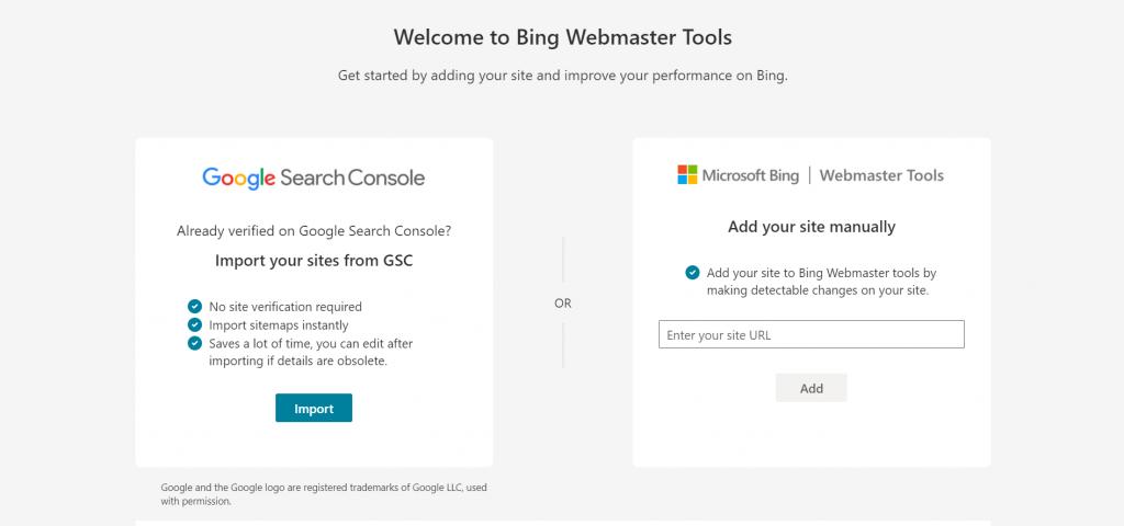 Bing Webmaste Tools homepage