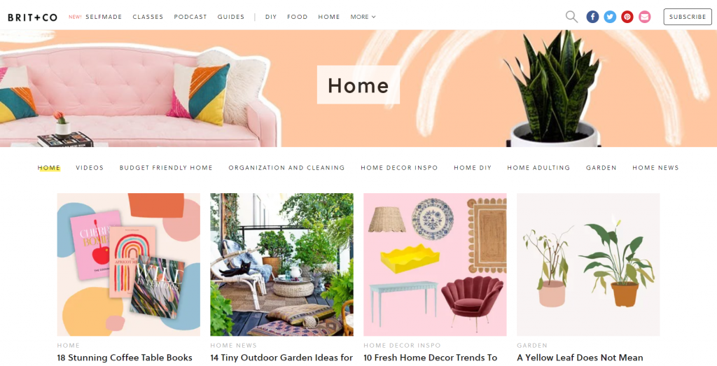 Homepage of Brit + Co