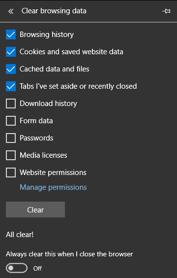 Clearing browser cache, cookies and history in Microsoft Edge