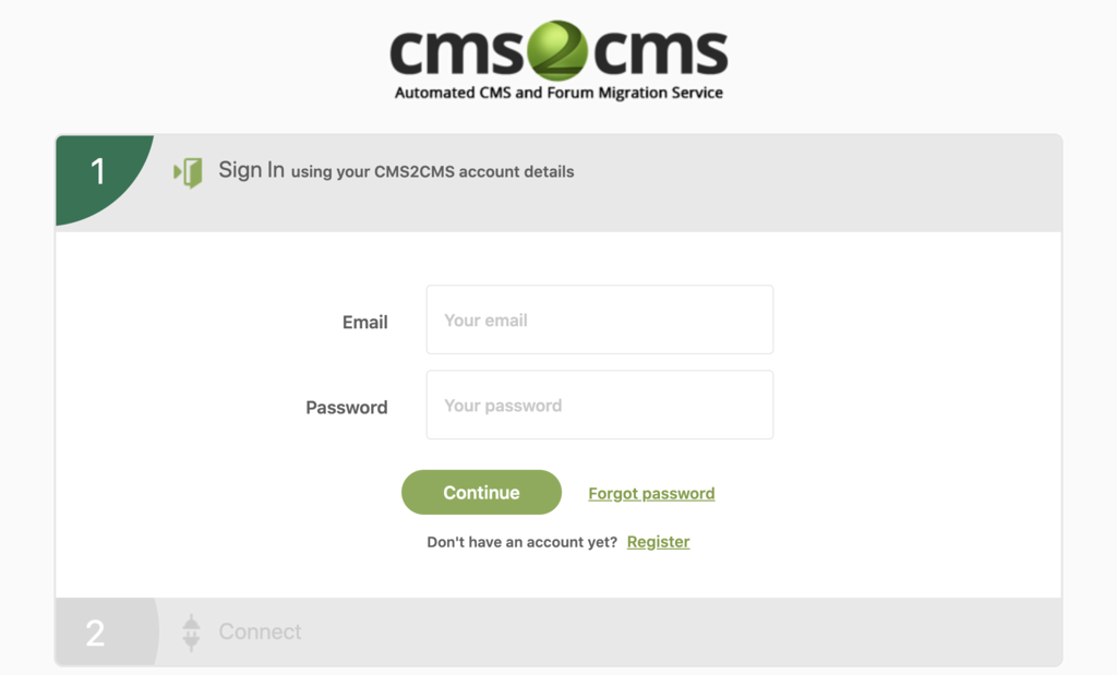 sign in page for cms2cms account