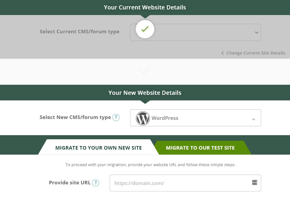 cms2cms migration websites set up page
