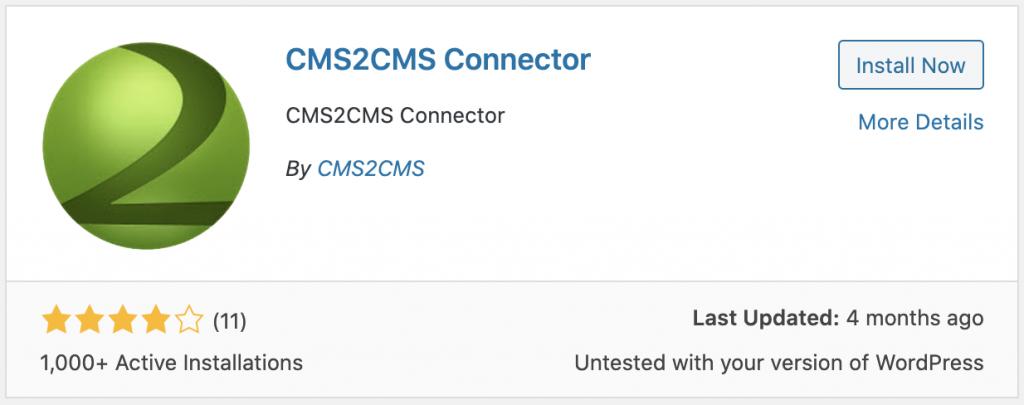 cms2cms plugin download button