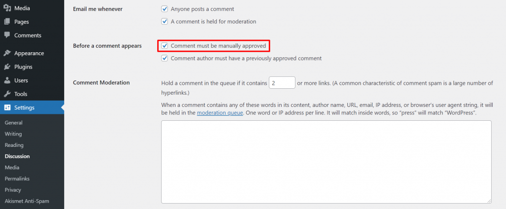 Chaning comment settings on WordPress dashboard