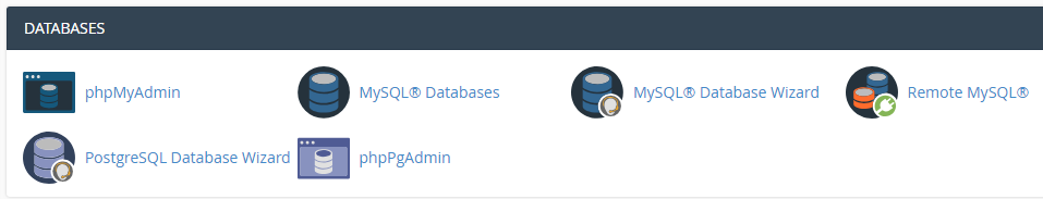 The cPanel databases section.