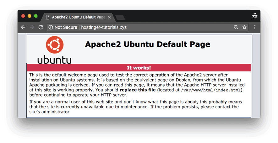 Default Ubuntu loading page which signals that domain is successfully pointed to VPS