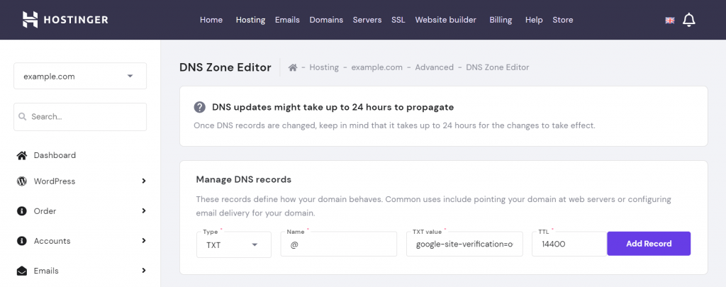 DNS zone editor in hPanel