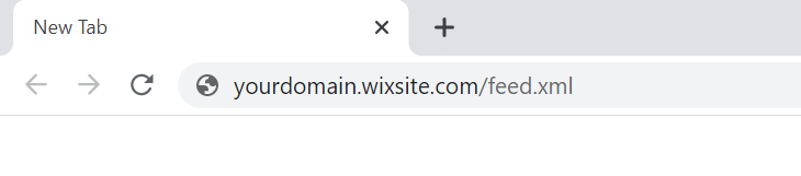 url displaying yourdomain.wixsite.com/feed.xml