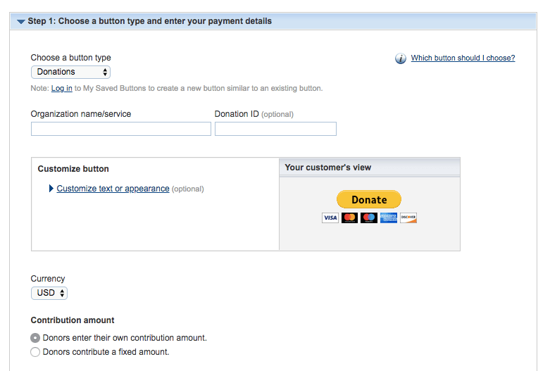 PayPal donate button options