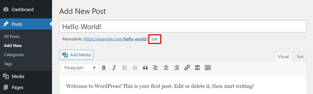 Editing a permalink in Classic Editor on WordPress