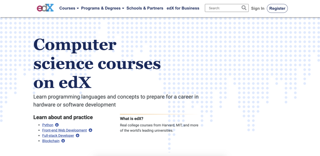 edX computer science courses to learn to code and register