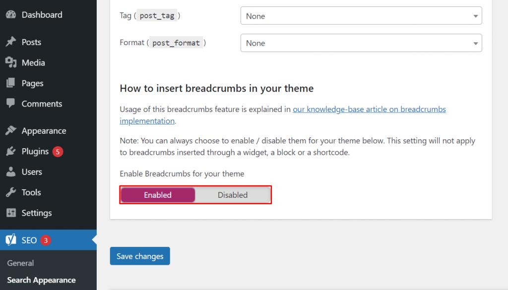 Enabling breadcrumbs on WordPress