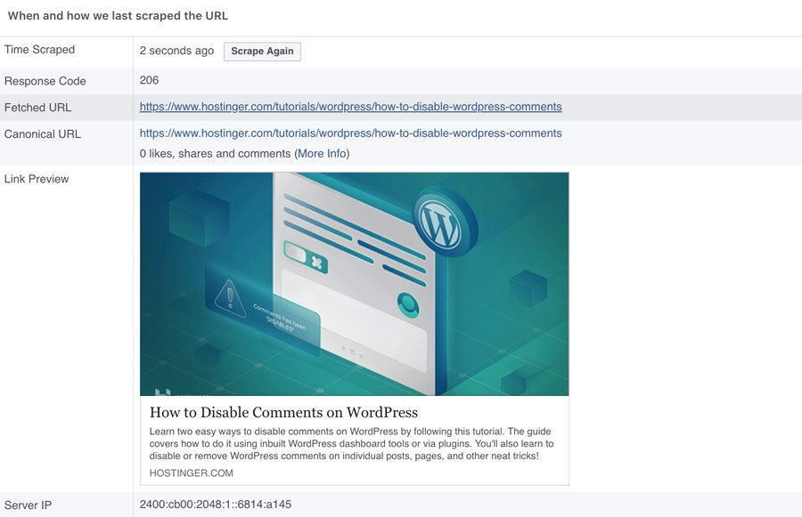 An example of how a WordPress link looks in Facebook.