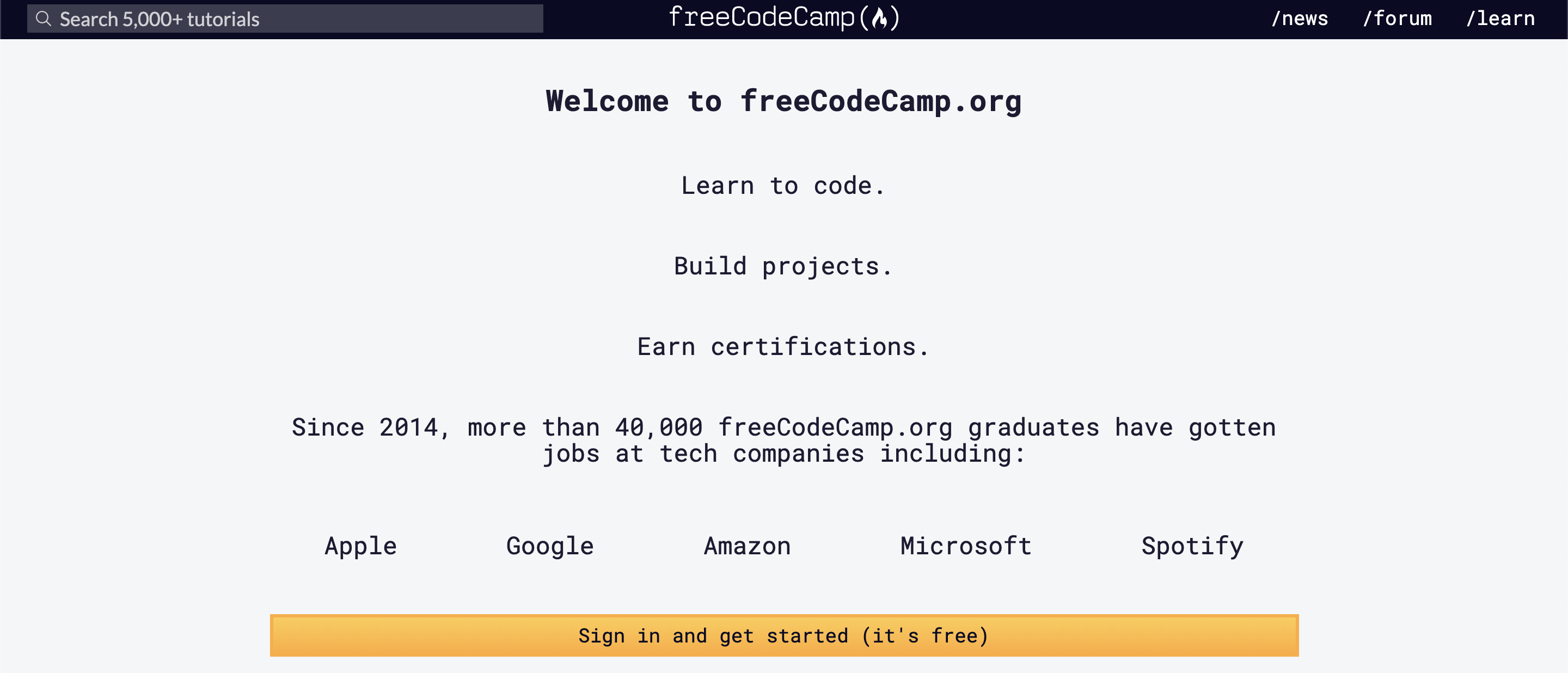 online for free with Free Code Camp