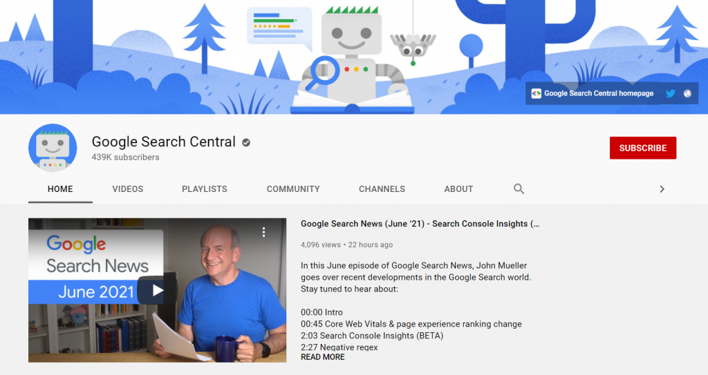 Homepage of Google Search Central